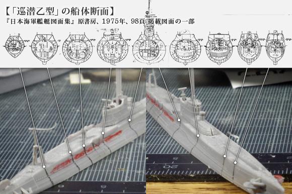 アオシマの巡潜乙型断面形
