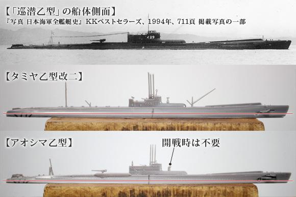 タミヤとアオシマの巡潜乙型側面形比較