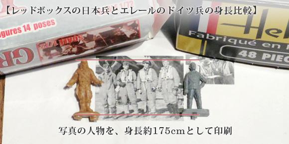 レッドボックスの日本兵とエレールのドイツ兵の身長比較