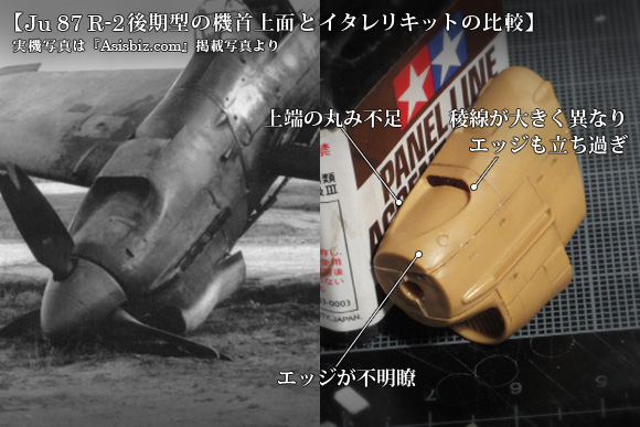 Ju 87 R-2後期型の機首上面とイタレリキットの比較
