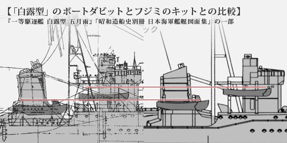 「白露型」のボートダビットとフジミのキットとの比較