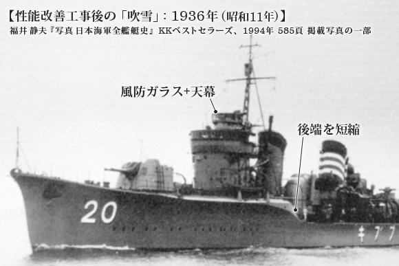 性能改善工事後の「吹雪」: 1936年(昭和11年)