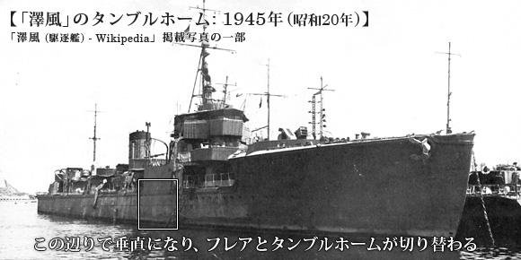 「澤風」のタンブルホーム: 1945年(昭和20年)