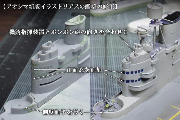 アオシマ新版イラストリアスの艦橋の修正