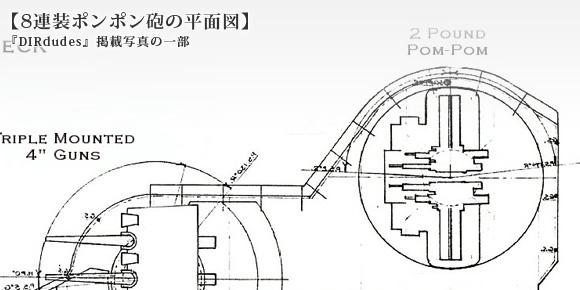 1/700 8連装ポンポン砲の平面図