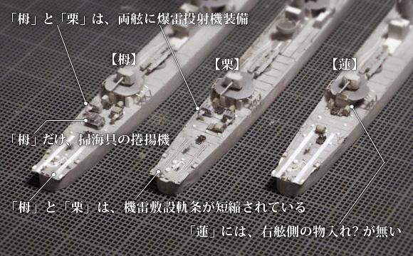 ハセガワ製の1/700駆逐艦「樅」をベースにした、「栂」「栗」「蓮」の艦尾兵装の違い