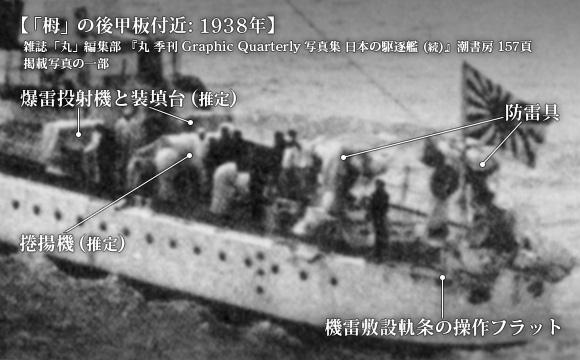 1938年 (昭和13年) の「栂」の後甲板付近の写真から、艦尾兵装を読み取る