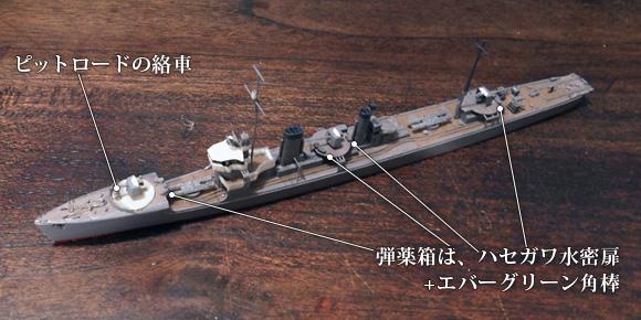 ハセガワ製の1/700駆逐艦「樅」キットの砲座に、弾薬箱と絡車を追加
