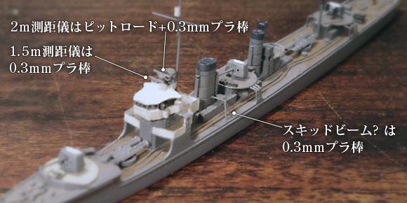 ハセガワ製の1/700駆逐艦「樅」キットに、測距儀とスキッドビームを追加