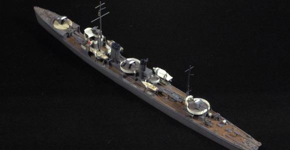 ハセガワ製の1/700駆逐艦「樅」をベースにした、「栗」の短艇周りを上から