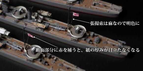 紙シールによる軍艦旗の自作と、断面・張揚索の処理