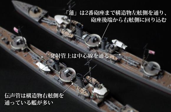 駆逐艦「樅型」「蔦型」の、艦橋後方への伝声管の取り回し