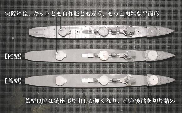 ハセガワ製の1/700駆逐艦「樅」と、「樅」を改造した「蔦型」の、砲座平面形の違い