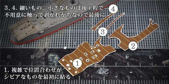 タミヤ新版島風の甲板デカールを分割して貼る順番