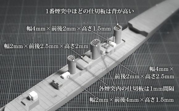 1/700「天龍」最上甲板上の諸構造物。