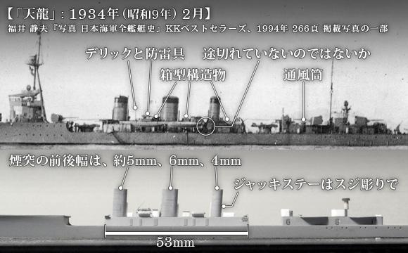 1934年 (昭和9年) の「天龍」左舷と写真を基にした1/700模型