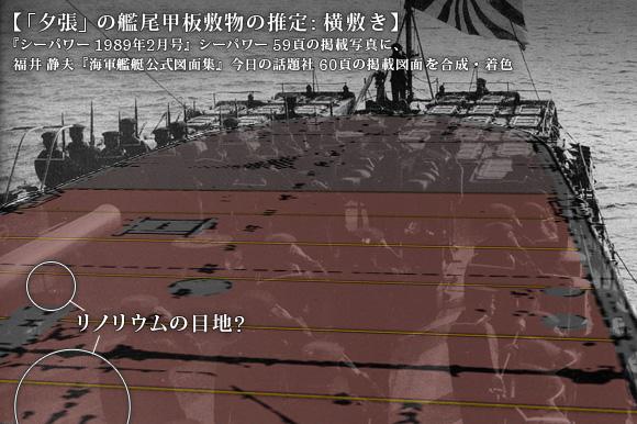 「夕張」の艦尾甲板敷物の推定: 横敷き