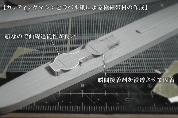 カッティングマシンとラベル紙による極細帯材