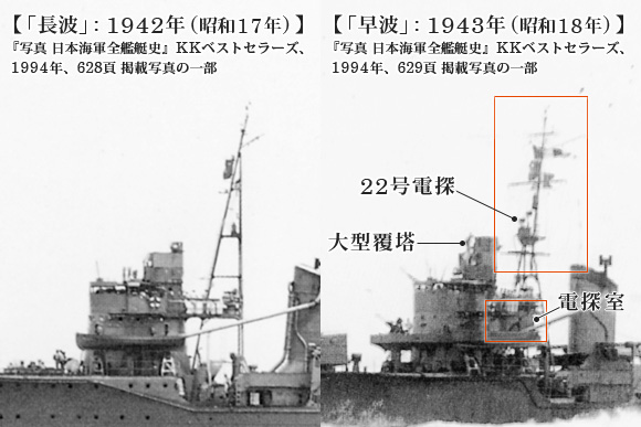 「長波」: 1942年 (昭和17年) と「早波」: 1943年 (昭和18年) の電探付近