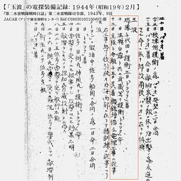 「玉波」の電探装備記録: 1944年 (昭和19年) 2月
